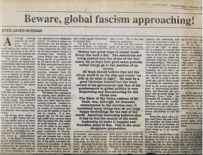 Beware Global Fascism Approaching