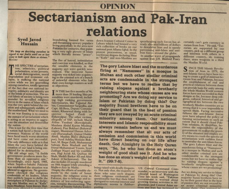 Sectarianism and Pak Iran Relations