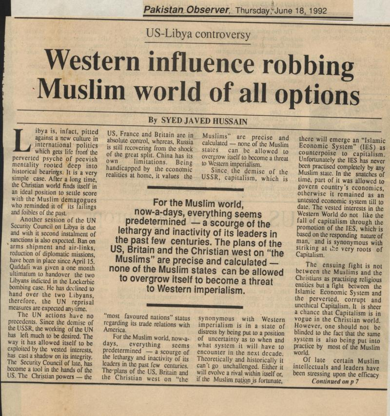 Western Influence Robbing Muslims World of all Options