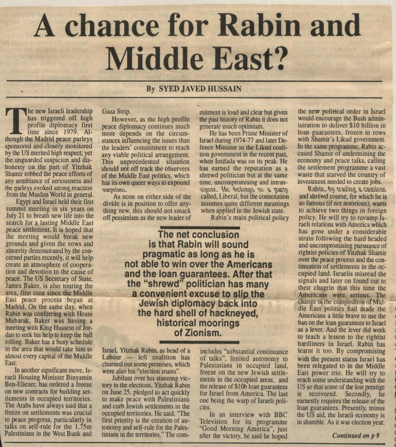 A Chance for Rabin and Middle East?