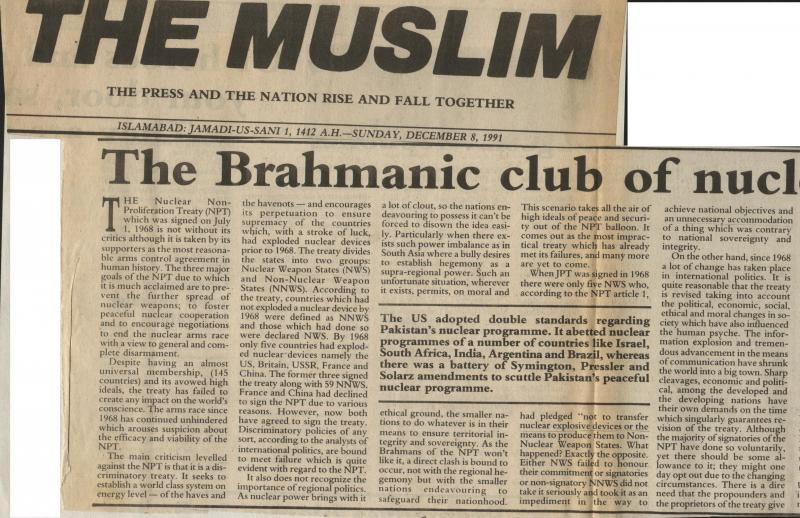 The Brahmanic Club of Nuclear Haves