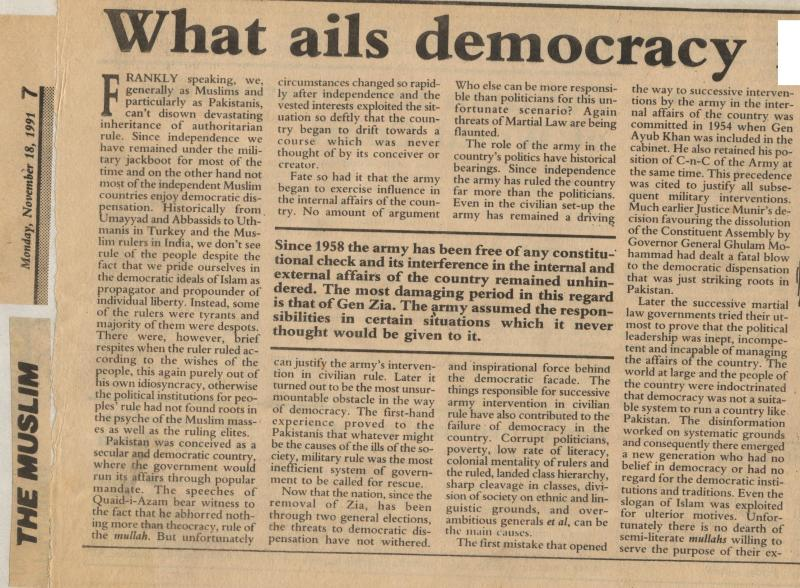 What Ails Democracy in Pakistan