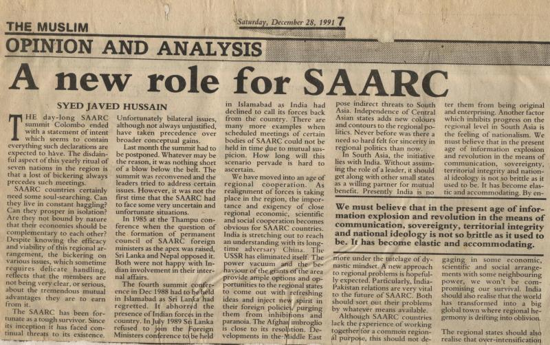 A New Role for SAARC