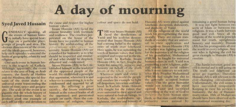 A Day of Mourning