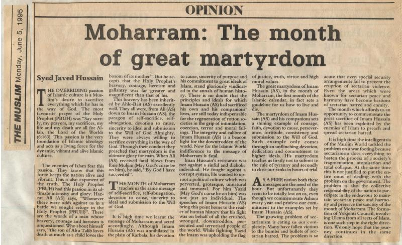 Moharram: The Month of Great Martyrdom