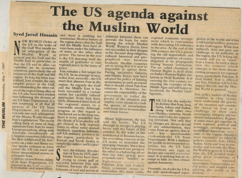 The US Agenda Against the Muslim World